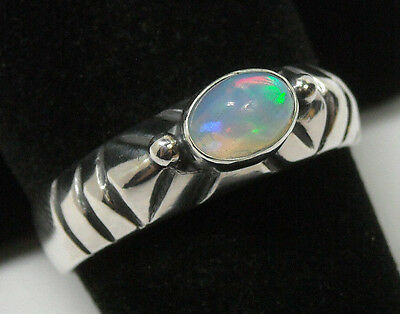 Handmade Natural Ethiopian Welo Fire Opal Solid Sterling 925 Silver Ring Size 9