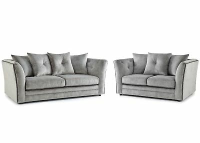 New Hoxton Fabric 3 Seater / 2 Seater Sofa Set - Studded Arms - Grey - Uk Made