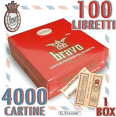 4000 Cartine BRAVO REX Corte FINISSIME REGULAR BIANCHE - 1 BOX da 100 LIBRETTI