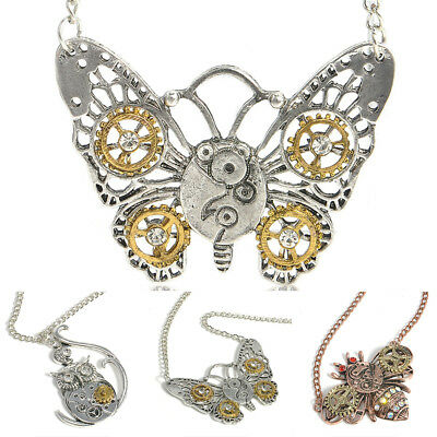 Steampunk Owl Butterfly Bee Shape Gear Pendant Necklace Unisex Jewelry Dreamed