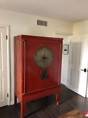 "Antique Chinese Red Armoire Cabinet 43"" Wide 70: Tall"