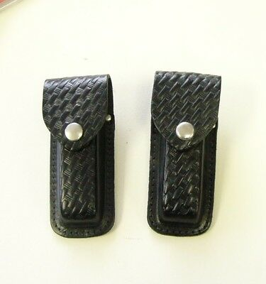 """Lot of 2: USA Made Leather belt pouch for 4.5"""" Folder Basket weave P/N New"""
