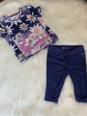 Baby Gap Toddler Girl Blue Floral Workout Clothing Size 2T