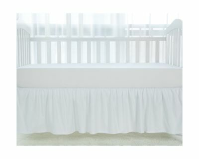 TILLYOU White Crib Skirt Dust Ruffle, 100% Natural Cotton, Nursery Crib Bedding