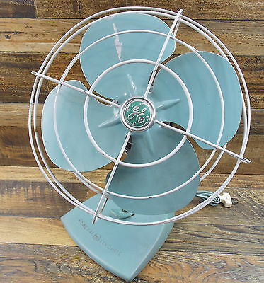 "Vintage 1950's 14"" GE 2 Speed Oscillating Electric Fan F18S125 Aqua Works Good"