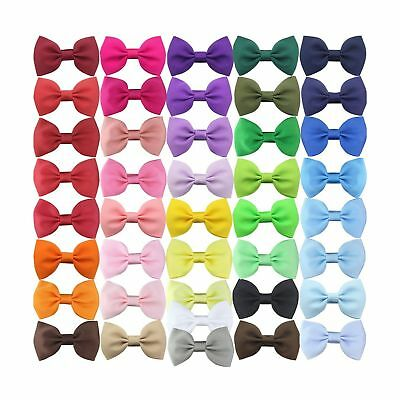 "QtGirl 41 Pieces 2.5"" Mini Bowknot Grosgrain Hair Bows with Covered Clips"
