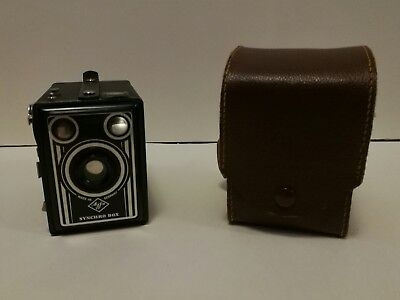 Agfa Synchro Box with original case vintage camera Made in Germany boxkamera