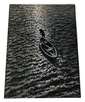 Boat on Riverbed Lacquer Handmade Eggshell Painting on Wood Panel Vietnamese