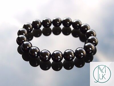 Black Onyx 10mm Natural Gemstone Bracelet 6-9'' Elasticated Healing Stone Chakra