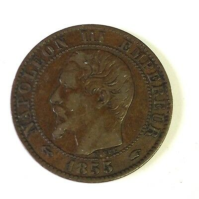 1855 A French Empire 5 Centimes, Napoleon III France coin, VF