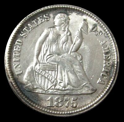 1875 Cc Silver Seated Liberty Dime Above Bow Bu Condition