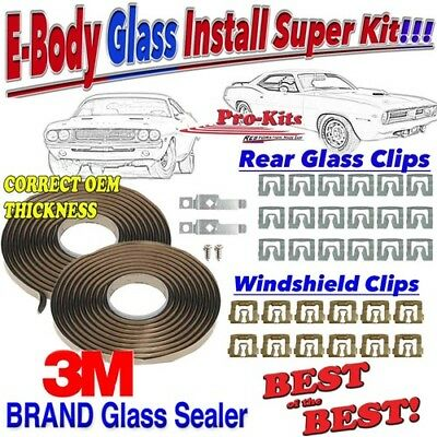 Mopar 1970 AAR T/A Cuda Challenger Windshield Clip Front Rear Window Sealer Kit