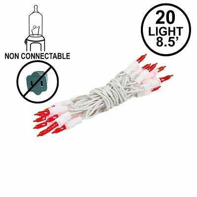 20 light red christmas craft mini light set non connectable white wire
