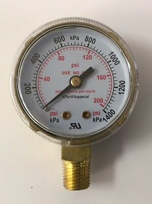 "2"" Low Pressure Gauge for Oxygen Regulator 0-200 PSI 1/4""-18NPT 2""X200"