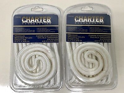 "4 NEW 3//8/"" x 15/' Double Braid Nylon Dock Line Boat Mooring Stearns White G019WHT"