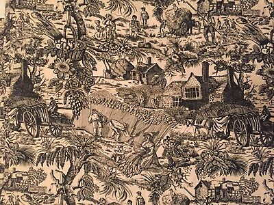 """Vintage Print Fabric Toile Black Tan Antique French Country Cottage Farm 45"""" W"""