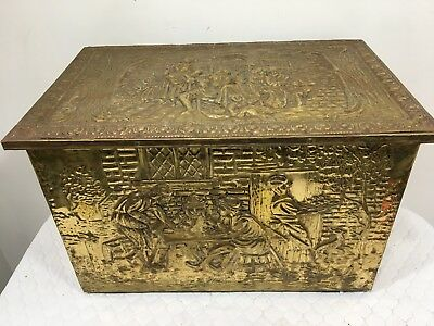 Rare Vintage Victorian Motif Brass Clad Fireplace Wood Coal Insulated Box
