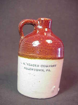 L H Yeager Company - Allentown PA - Salesman's Sample Miniature Whiskey Jug