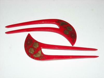 Pair of Vintage Hair Ornaments Combs Pins Hand Painted Red Gold Floral