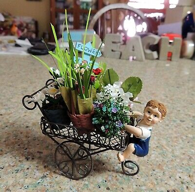 HANDCRAFTED DOLLHOUSE MINIATURE FLOWER PULL CART w/ ROSES BUDS TULIPS & LILIES