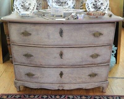 Antique 18th / 19th Century Swedish Gustavian Chest  Drawers Old White Paint