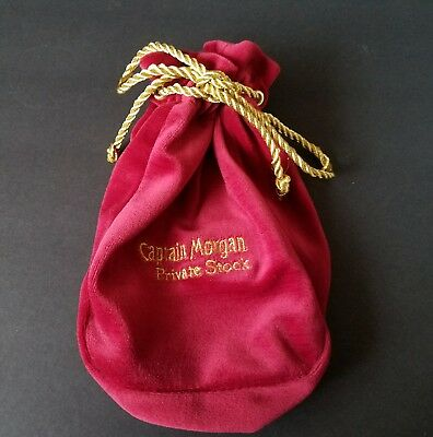 Captain Morgan Liquor Private Stock Red Gold Drawstring 9 Inch Pouch Bag