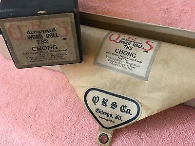 QRS Player Piano Roll Autograph Word Roll Chong 782 By Osborne & Howe Vintage