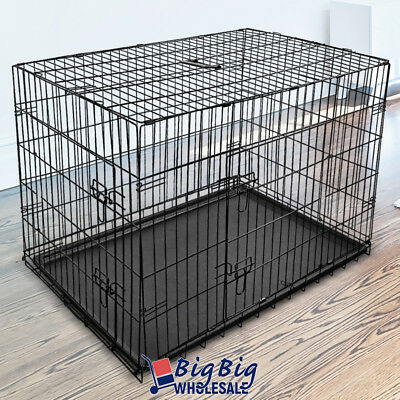 """48"""" [X-Large] Extra Large Folding Dog Crate Kennel Pet Cage Pen 2-Doors w/Tray"""