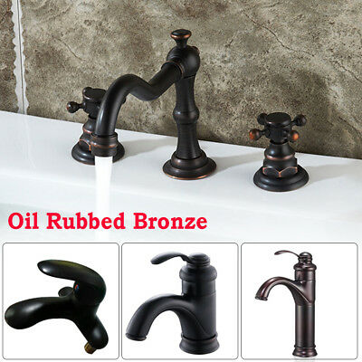 Oil Rubbed Bronze Bathroom Waterfall Faucet Sink Vessel Basin Kitchen Mixer Taps