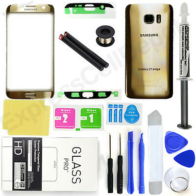 Gold Samsung Galaxy S7 Edge G935 Front Screen Lens Back Glass Replacement Kit