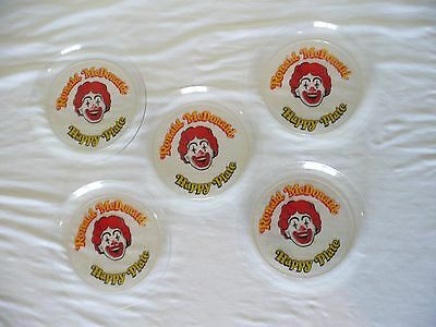 "Lot of 5 Vintage McDonald's plates Clear plastic 9"", stackable, Ronald"