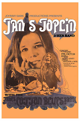 Janis Joplin and her James Cotton Blues Band Poster circ 13x19 inches