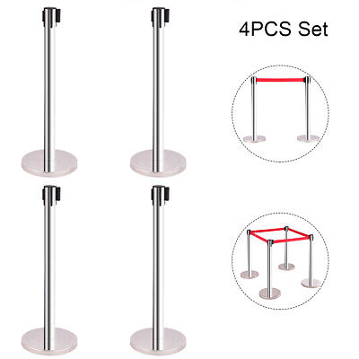 4 Red Belt Stanchion Queue Rope Retractable Barrier Posts Stand Polished Steel