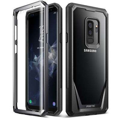 Poetic Samsung Galaxy S9 Plus Case [Guardian] Rugged Clear Hybrid Bumper Black