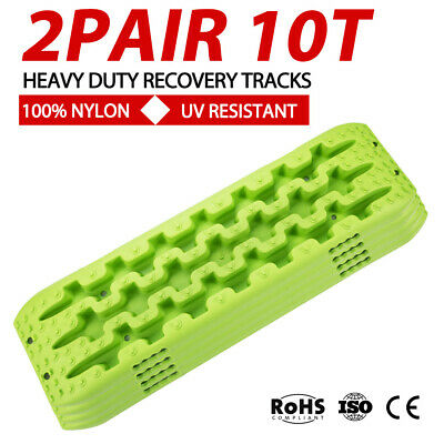 2Pair GREEN 4WD Recovery Tracks 10T Off Road 4x4 Snow Mud Sand Trax 10 ton