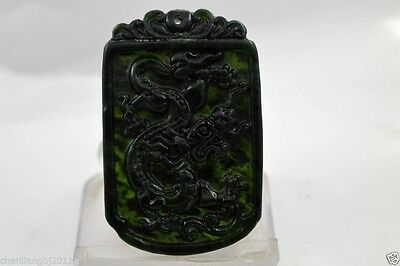 100% China's natural jade nephrite carving black jade pendant Dragon 04