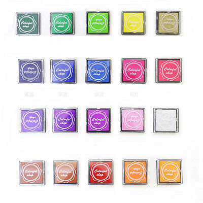 Set of 20 Color Mini Rubber Stamps Pigment Ink Pad Craft Cardmaking Scrapbooking
