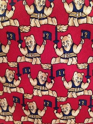 Brooks Brother's Classic Men's Tie Fan Bear 100% Silk USA Red Blue Beige Flame