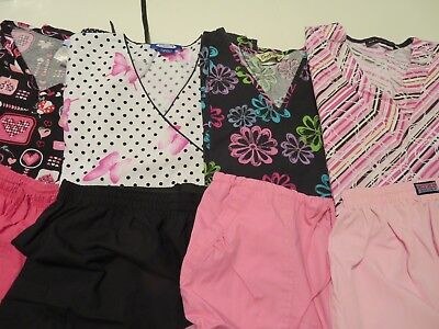Womans Lot Of Scrub Sets, 4 Tops, 4 Pants,  Nice Condition  Size S (Box 394)