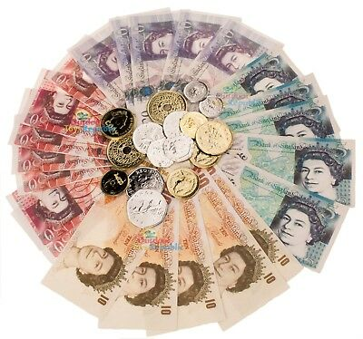 Fake Money Play Set Pretend Shops Role Cash NEW £5 Pound Notes Coins Kids Toy