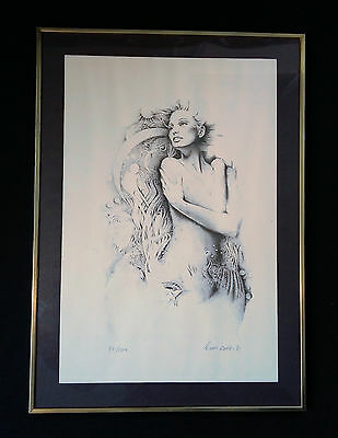 Half Nude Fantasy Woman 70iger years. Original Sign Lithography from 1973.