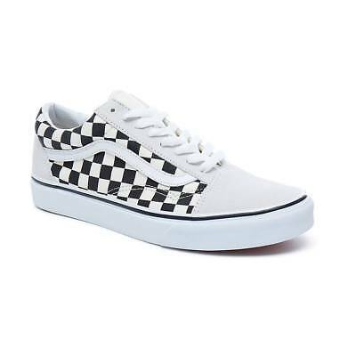 VANS Old Skool Low-Cut Sneaker weiß white black Checkerboard Leder vulkanisiert