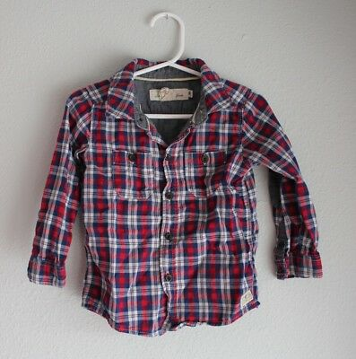 H&M baby long sleeve button down plaid cotton SIZE 12-18 months red blue