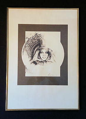 Woman with glaskugel. 70iger years. Original Sign Fantasy Lithography from 1972