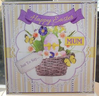 Handmade Happy Easter Mum Card With A Flower And Egg Basket Design