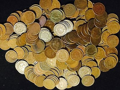 LOT OF 50 Coins Mixed Indian Head Cent Pennies in Average Circ.  1800'S + 1900'S