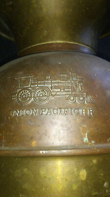 Vintage Brass UNION PACIFIC RR Spitoon Embossed with Locomotive Train--Railroad