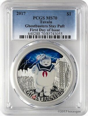 2017 $1 Tuvalu Ghostbusters Stay Puft .9999 Silver Coin PCGS MS70 First Day