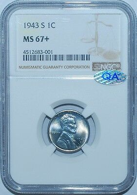1943 S NGC MS67+ QA Check Verified Lincoln Wheat Steel Cent