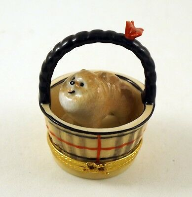New French Limoges Box Cute Pomeranian Dog Puppy In Designer Plaid Basket